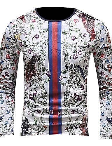 Χαμηλού Κόστους Ανδρικά Τοπ-Ανδρικά T-shirt Ενεργό / Κομψό στυλ street Συνδυασμός Χρωμάτων Κεντητό / Στάμπα