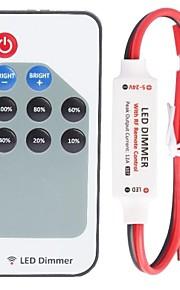 r107ミニ単色LED調光器ストリップコントローラ、rfリモート、赤と黒のケーブルライン(dc5-24v 60-288w 12a)