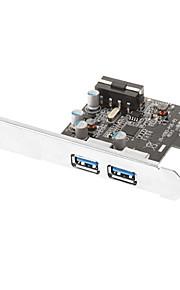 PCI Express SuperSpeed USB 3.0 2-Port Expansion Card met 5V 4-pins power connector voor Desktops