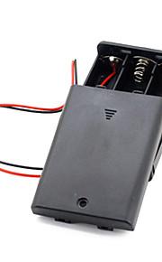 3pcs aa cellen batterij (4.5v) clip houder doos geval zwart
