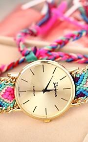 Mulheres Relógio de Moda Bracele Relógio Quartzo Tecido Banda Boêmio Cores Múltiplas Vermelho Verde Azul Rosa claro