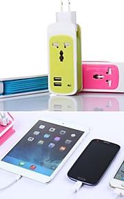 3in1 Dual USB Port reseladdare universella uttag ADAPTE för ipad / iphone och andra (ac750w, 100 ~ 240 V, DC5V 2.1a, oss plug)