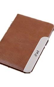 Maska Pentru iPad Mini 3/2/1 Cu Stand Auto Sleep / Wake Carcasă Telefon Culoare solidă Piele autentică pentru iPad Mini 3/2/1