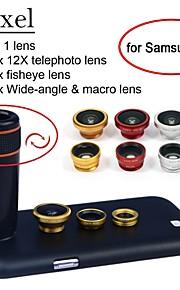 apexel 4 i 1 12x svart teleobjektiv + fisheye-objektiv + vidvinkel + makrokameralinsen med fallet för samsung galaxy S5