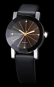 Homens Mulheres Casal Quartzo Relógio de Pulso Relógio Elegante Com Strass imitação de diamante PU Banda Criativo Preta