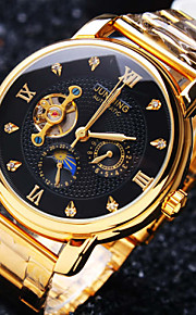 Men's Mechanical Watch Automatic self-winding 30 m Water Resistant / Water Proof Hollow Engraving Creative Stainless Steel Band Analog Luxury Sparkle Gold - White Black Golden / Imitation Diamond