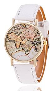 Mulheres Relógio de Moda Bracele Relógio Quartzo Padrão Mapa do Mundo PU Banda Padrão Mapa do Mundo Preta Branco Marrom