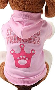 고양이 강아지 후드 강아지 의류 티아라 & 왕관 핑크 면 코스츔 애완 동물 여성용 귀여운 패션
