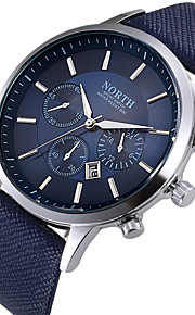 Men's Wrist Watch Quartz Calendar / date / day Cool Leather Band Analog Fashion Black / White / Blue - Black Coffee Blue Two Years Battery Life / Stainless Steel