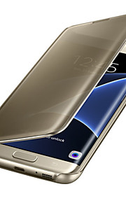 fodral Till Samsung Galaxy Samsung Galaxy S7 Edge Automatiskt sömn- / uppvakningsläge Plätering Spegel Lucka Genomskinlig Fodral Ensfärgat