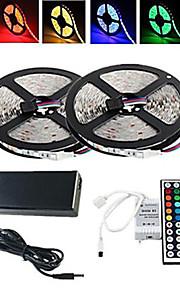 RGB-lysstriper 300/10M LED RGB Fjernkontroll Kuttbar Vanntett Fargeskiftende Selvklebende 100-240V
