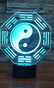 1 stk 3D nattlys Usb Mangefarget Glass ABS 1 Lampe Ingen Batterier Inkludert 22.0*17.0*4.5cm
