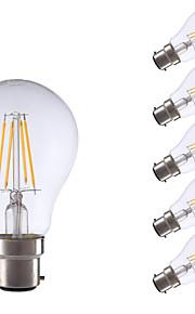 5w b22 led filamentpærer a60 (a19) 4 cob 400 lm varm hvit dekorative v 6 stk