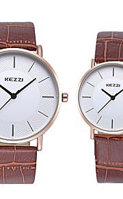 KEZZI Casal Quartzo Relógio de Pulso / imitação de diamante Couro Banda Casual Fashion Legal Preta Branco Marrom