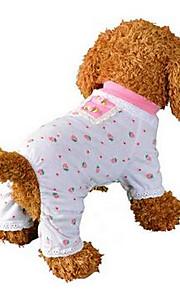 강아지 점프 수트 파자마 강아지 의류 과일 핑크 면 코스츔 애완 동물 남성용 여성용 귀여운 캐쥬얼/데일리