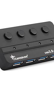 4 ports usb 3.0 super speed hub 5gbps avec interrupteur avec source d'alimentation