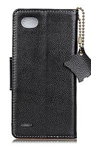 For Case Cover Card Holder Wallet Flip Full Body Case Solid Color Hard Genuine Leather for LG LG Q6