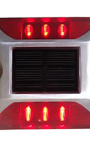1pcs aluminium solcelle 6-ledet utendørs vei oppkjørselen bakken bakken lys lampe rød