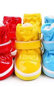 Katze Hund Schuhe und Stiefel Flache Schuhe Stiefel Lässig/Alltäglich Wasserdicht warm halten Solide Gelb Rot Blau Für Haustiere