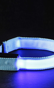 Cat Dog Collar LED Lights Adjustable / Retractable Solid Nylon Yellow Red Green Blue Pink