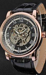 WINNER Homens Relógio Elegante Relógio de Pulso relógio mecânico Mecânico - de dar corda manualmente Gravação Oca Couro Banda Luxo Casual