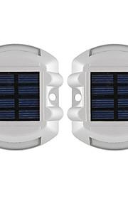 2pcs aluminium solcelle 6-ledet utendørs vei oppkjørselen bakken bakken lys lampe gul