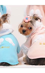 חתול כלב קפוצ'ונים בגדים לכלבים כותנה חורף קיץ/אביב יום יומי\קז'ואל דפוס מלאך כחול ורוד תחפושות עבור חיות מחמד