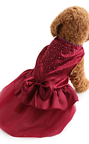 Hund Kleider Hundekleidung Solide Pailletten Rot Blau Terylen Kostüm Für Haustiere Damen Urlaub Modisch Hochzeit