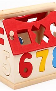 Bouwblokken Educatief speelgoed Speeltjes Nieuwigheid Geometrische vorm Alfabetvorm Karakters Huizen School/Afstuderen houten Staand