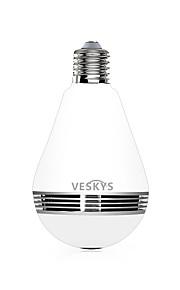 VESKYS®  1.3MP 960P 360 Degree Fish Eye Lens Wireless Wi-Fi Full View Light Bulb IP Camera