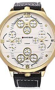 SHI WEI BAO Herr Armbandsur Modeklocka Kinesiska Quartz Kalender Stor urtavla Tre tidszoner Läder Band Ledigt Svart Brun