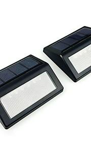 2pcs 6led sollys varm / kald hvit utendørs hage trapp vegg lampe pir bevegelsessensor lys oppladbart
