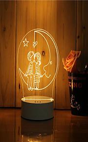 1 sæt 3d stemning natt lys hånd følelse dæmpbar usb powered gave lampe under måneskinnet