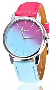 Mulheres Quartzo Relógio de Pulso Chinês Relógio Casual PU Banda Casual Relógio Elegante Fashion Azul Vermelho Rosa Fúcsia