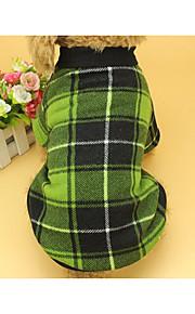 Kat Hund Sweatshirt Hundetøj Ternet minimalistisk stil Plæd / Tern Rød Grøn Kostume For kæledyr