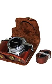 Tampa de bolsa de couro para câmera de couro dengpin pu para olympus e-m10 mark iii em10 mark3 (lente 14-42mm ez (cores sortidas)