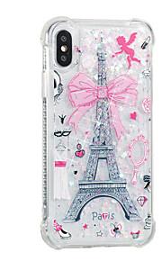 hoesje Voor Apple iPhone X iPhone 8 Plus Stromende vloeistof Patroon Achterkant Eiffeltoren Zacht TPU voor iPhone 8 Plus iPhone 8