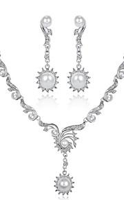 Dame Smykke Sæt Imiteret Perle Rhinsten Mode Forlovelse Guldbelagt Geometrisk form 1 Halskæde Øreringe