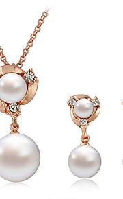 Dame Dråbeøreringe Halskæde Imiteret Perle Rhinsten Klassisk Mode Daglig Imiteret Perle Simuleret diamant Legering Bold 1 Halskæde