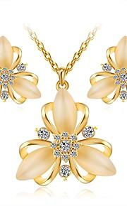 Dame Stangøreringe Halskæde Kvadratisk Zirconium Rhinsten Klassisk Mode Elegant Daglig Zirkonium Simuleret diamant Legering Blomst 1