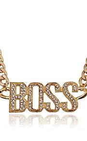 Dame Overdimensionerede Rhinsten Simuleret diamant Halskædevedhæng - Overdimensionerede Mode Uregelmæssig Guld Sølv 50cm Halskæder Til