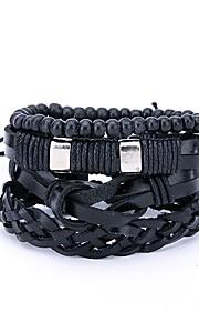 Herre Wrap Armbånd , Statement-smykker Læder Sort Uregelmæssig Smykker Daglig Gade Kostume smykker