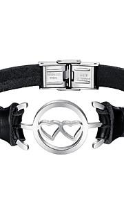 Herre Læder Armbånd Mode Rustfrit Stål Læder Sort Hjerte Smykker Daglig Kostume smykker