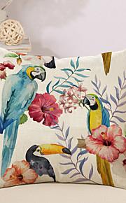 1 Stk. Bomuld/Linned Pudebetræk Nyskabende Puder, Blomstret Flamingo Dyr Natur-inspirert Tropisk