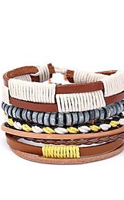 Herre Wrap Armbånd , Afslappet Europæisk Læder Gul Uregelmæssig Smykker Gave Daglig Kostume smykker
