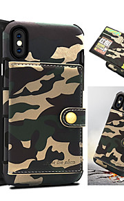 Case For Apple iPhone X Card Holder Shockproof Back Cover Camouflage Color Hard PU Leather for iPhone X