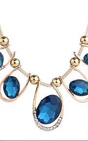 Dame Zirkonium Kort halskæde - Vintage Gave Geometrisk form Blå 50cm Halskæder Til Aftenselskab I-byen-tøj