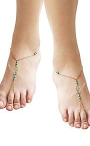 Bohemian Hamsa Hand Acrylic Anklet - Women's Gold Vintage Bohemian Hamsa Hand Acrylic Alloy Anklet For Gift Bikini