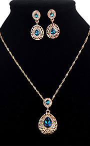 Women's Cubic Zirconia Crystal Zircon Jewelry Set 1 Necklace Earrings - Formal Sweet Drop Jewelry Set For Party Masquerade