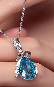 Women's Crystal Pendant Necklace - Crystal, Silver Plated Drop, Teardrop Fashion, Elegant Red, Blue, Champagne Necklace Jewelry For Wedding, Party, Special Occasion